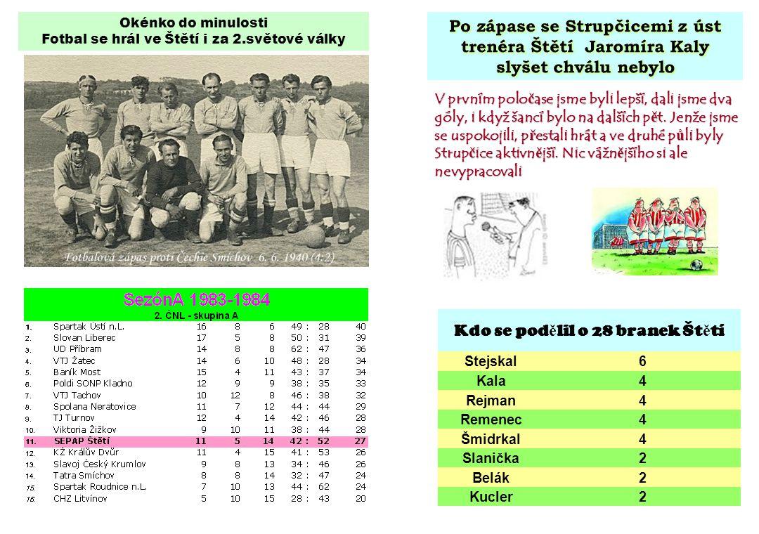 Okénko do minulosti Fotbal se hrál ve Štětí i za 2.světové války V prvním polo č ase jsme byli lepší, dali jsme dva góly, i když šancí bylo na dalších p ě t.