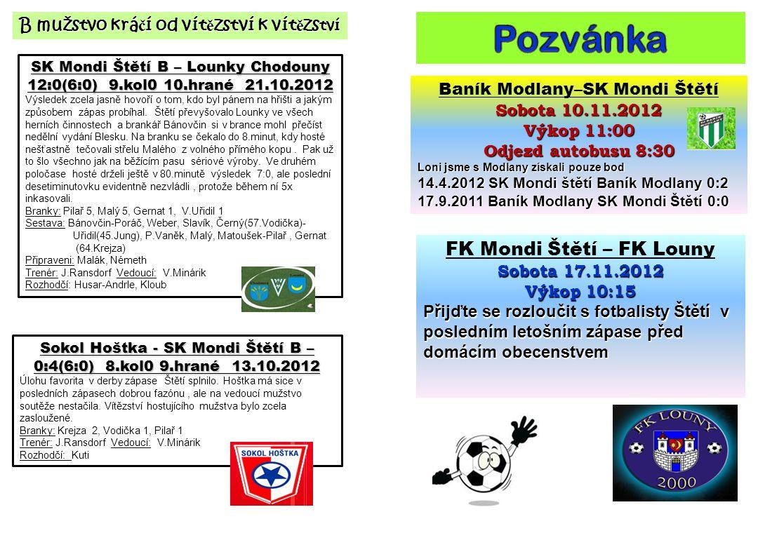 SK Mondi Štětí B – Lounky Chodouny 12:0(6:0) 9.kol0 10.hrané 21.10.2012 Výsledek zcela jasně hovoří o tom, kdo byl pánem na hřišti a jakým způsobem zápas probíhal.