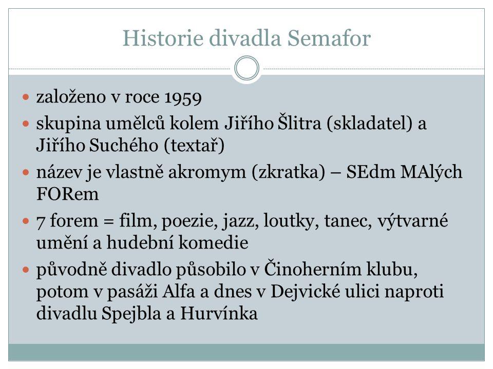 Historie divadla Semafor založeno v roce 1959 skupina umělců kolem Jiřího Šlitra (skladatel) a Jiřího Suchého (textař) název je vlastně akromym (zkratka) – SEdm MAlých FORem 7 forem = film, poezie, jazz, loutky, tanec, výtvarné umění a hudební komedie původně divadlo působilo v Činoherním klubu, potom v pasáži Alfa a dnes v Dejvické ulici naproti divadlu Spejbla a Hurvínka