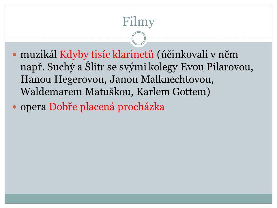Filmy muzikál Kdyby tisíc klarinetů (účinkovali v něm např. Suchý a Šlitr se svými kolegy Evou Pilarovou, Hanou Hegerovou, Janou Malknechtovou, Waldem