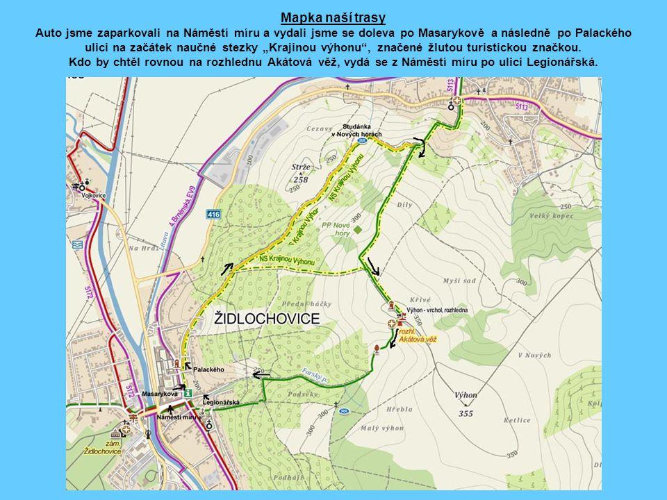 """Mapka naší trasy Auto jsme zaparkovali na Náměstí míru a vydali jsme se doleva po Masarykově a následně po Palackého ulici na začátek naučné stezky """"K"""