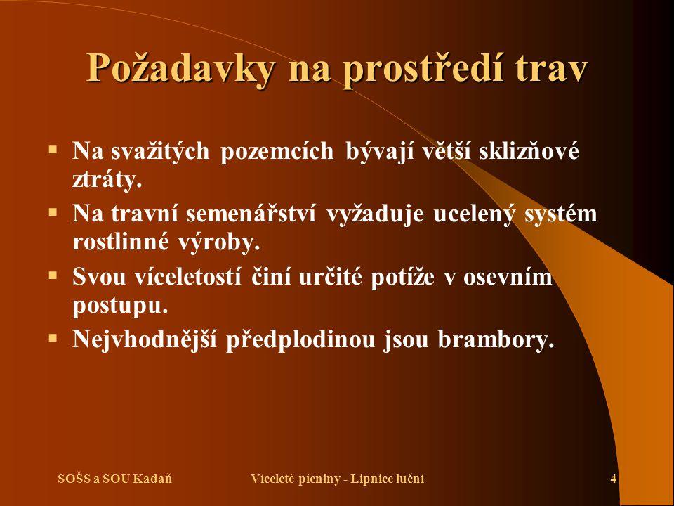 SOŠS a SOU KadaňVíceleté pícniny - Lipnice luční4 Požadavky na prostředí trav  Na svažitých pozemcích bývají větší sklizňové ztráty.