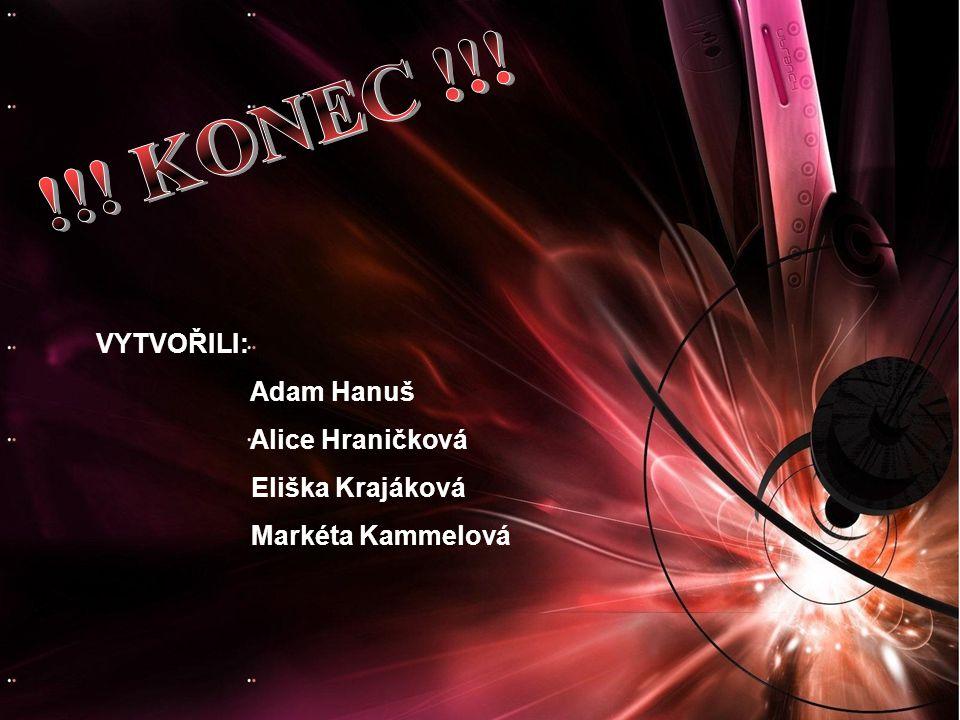 VYTVOŘILI: Adam Hanuš Alice Hraničková Eliška Krajáková Markéta Kammelová