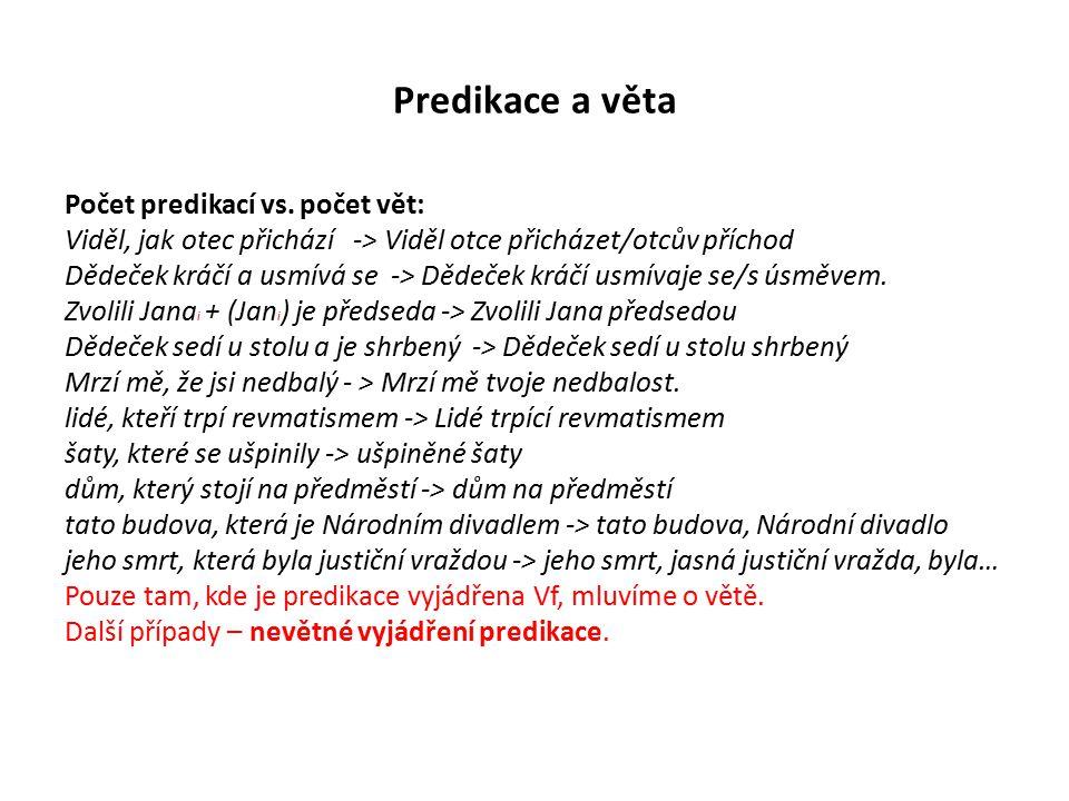 Predikace a věta Různé formy nominalizace a syntaktické kondenzace.