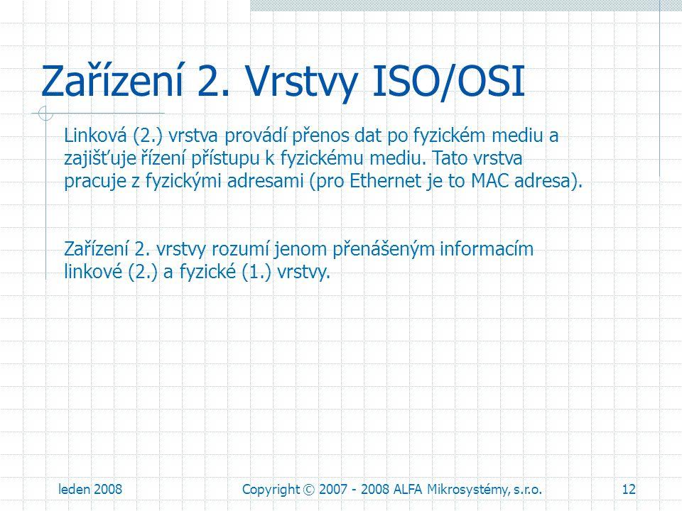 leden 2008Copyright © 2007 - 2008 ALFA Mikrosystémy, s.r.o.12 Zařízení 2. Vrstvy ISO/OSI Linková (2.) vrstva provádí přenos dat po fyzickém mediu a za