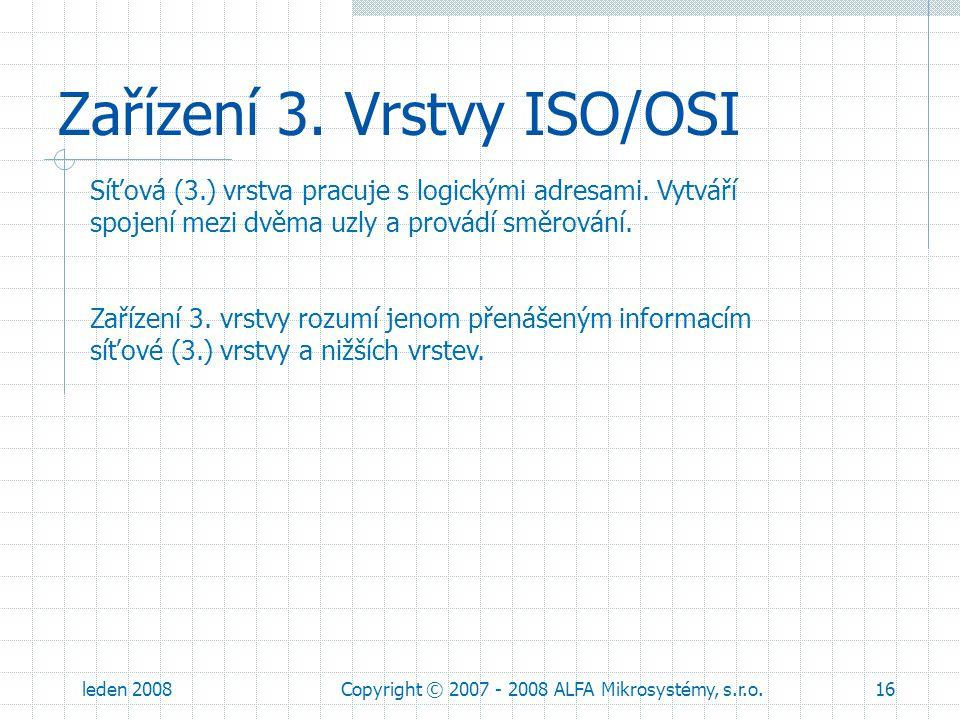 leden 2008Copyright © 2007 - 2008 ALFA Mikrosystémy, s.r.o.16 Zařízení 3. Vrstvy ISO/OSI Síťová (3.) vrstva pracuje s logickými adresami. Vytváří spoj
