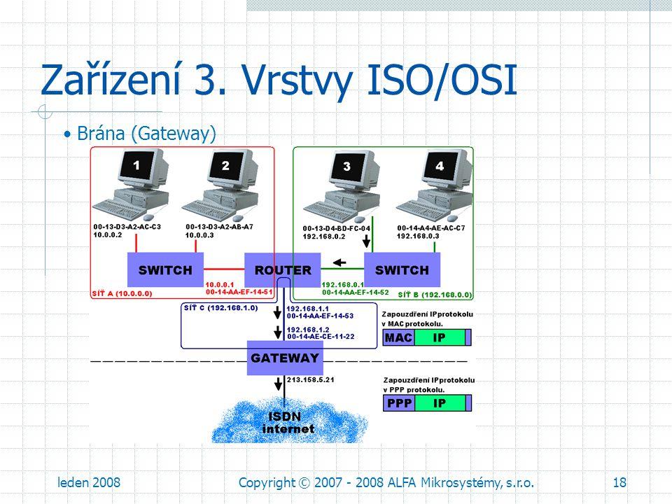 leden 2008Copyright © 2007 - 2008 ALFA Mikrosystémy, s.r.o.18 Zařízení 3. Vrstvy ISO/OSI Brána (Gateway)