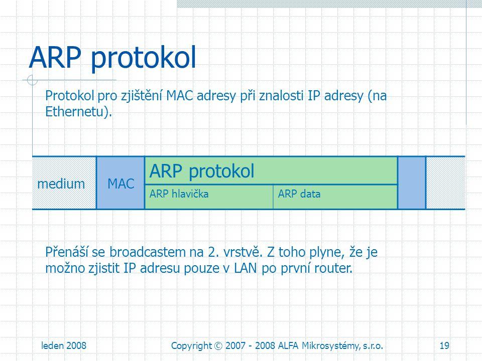 leden 2008Copyright © 2007 - 2008 ALFA Mikrosystémy, s.r.o.19 ARP protokol mediumMAC ARP protokol ARP hlavičkaARP data Protokol pro zjištění MAC adres