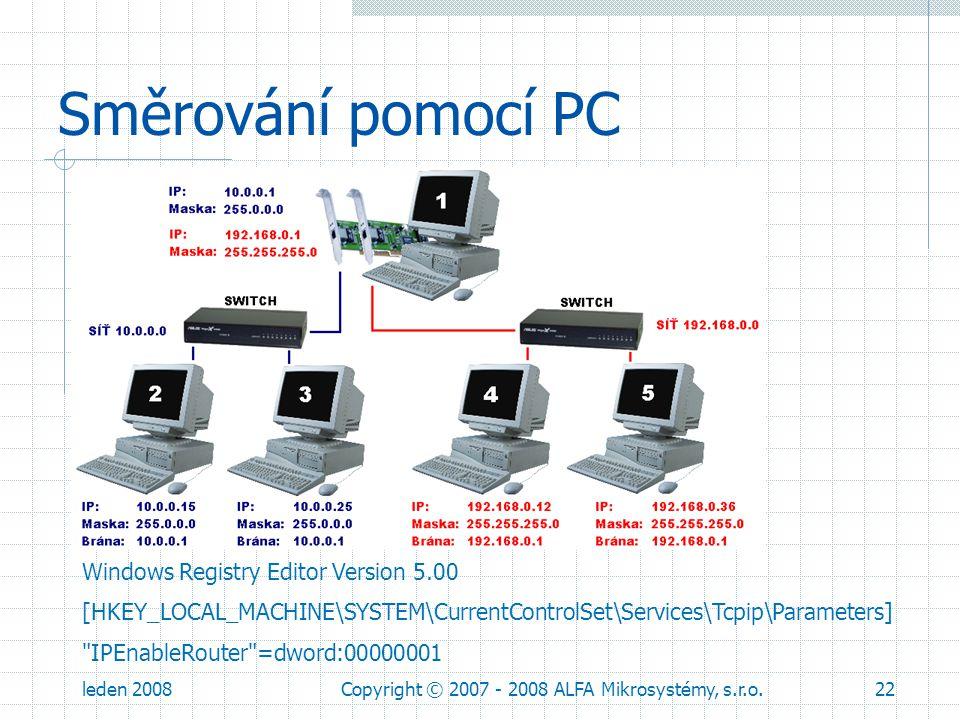 leden 2008Copyright © 2007 - 2008 ALFA Mikrosystémy, s.r.o.22 Směrování pomocí PC Windows Registry Editor Version 5.00 [HKEY_LOCAL_MACHINE\SYSTEM\Curr