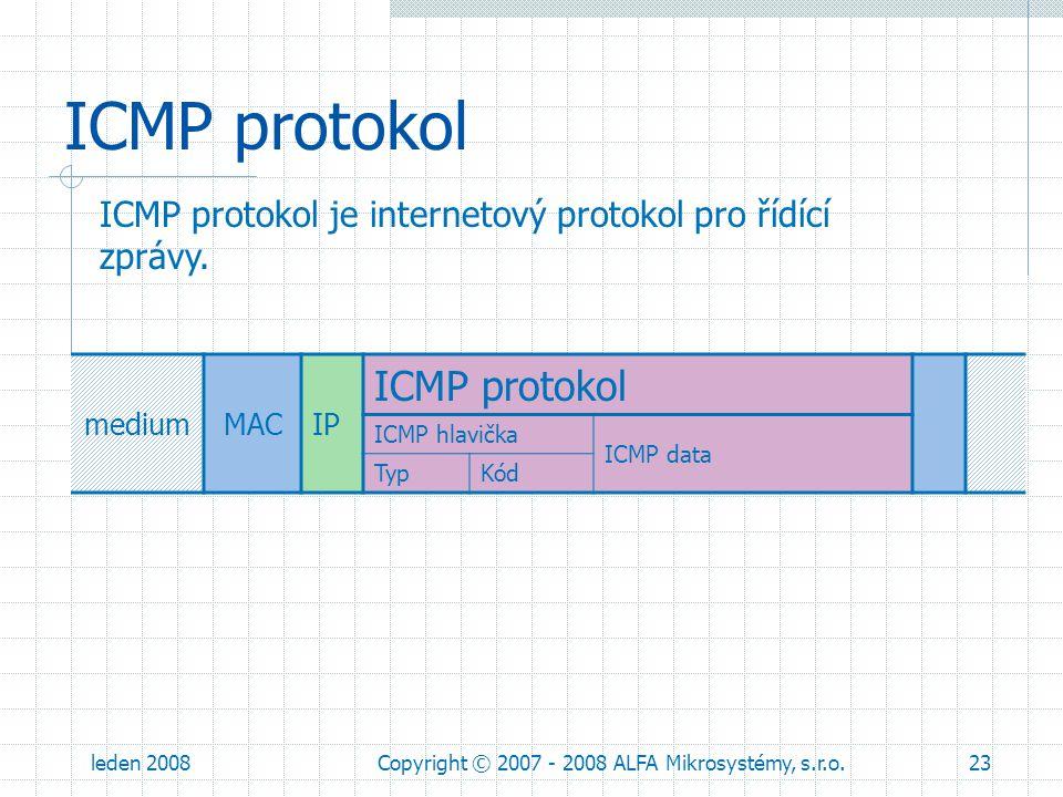 leden 2008Copyright © 2007 - 2008 ALFA Mikrosystémy, s.r.o.23 ICMP protokol ICMP protokol je internetový protokol pro řídící zprávy. mediumMACIP ICMP