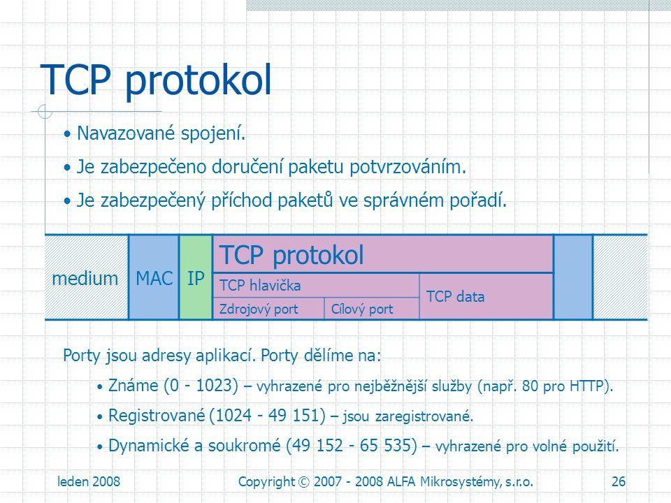 leden 2008Copyright © 2007 - 2008 ALFA Mikrosystémy, s.r.o.26 TCP protokol mediumMACIP TCP protokol TCP hlavička TCP data Zdrojový portCílový port Por