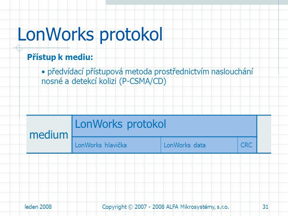 leden 2008Copyright © 2007 - 2008 ALFA Mikrosystémy, s.r.o.31 LonWorks protokol Přístup k mediu: předvídací přístupová metoda prostřednictvím naslouch