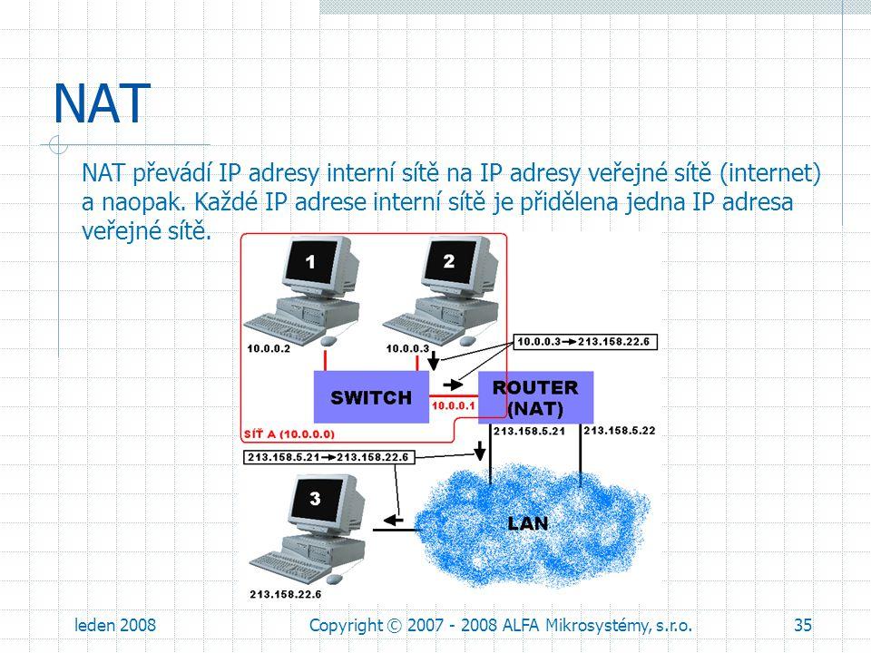 leden 2008Copyright © 2007 - 2008 ALFA Mikrosystémy, s.r.o.35 NAT NAT převádí IP adresy interní sítě na IP adresy veřejné sítě (internet) a naopak. Ka
