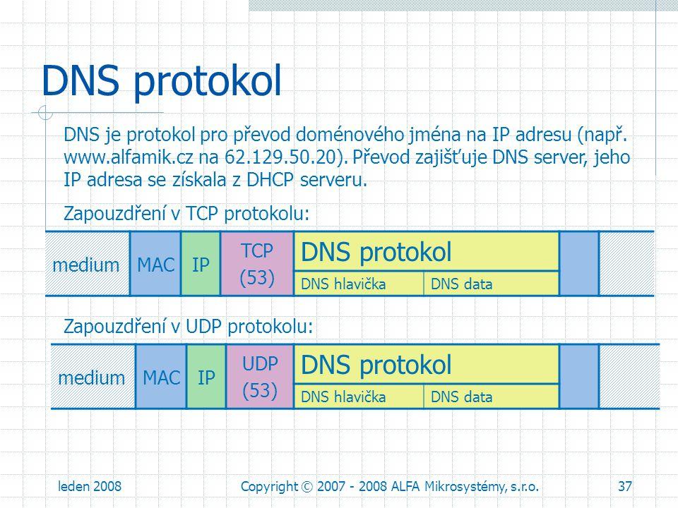 leden 2008Copyright © 2007 - 2008 ALFA Mikrosystémy, s.r.o.37 DNS protokol mediumMACIP TCP (53) DNS protokol DNS hlavička DNS data DNS je protokol pro