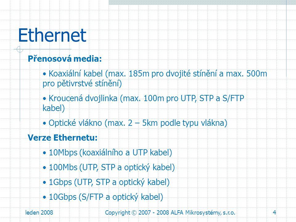 leden 2008Copyright © 2007 - 2008 ALFA Mikrosystémy, s.r.o.5 Ethernet Propojení zařízení UTP, STP a S/FTP kabelem: Kříženým kabel Nekříženým kabel Kříženým/Nekříženým kabel – Auto-MDI/MDIX
