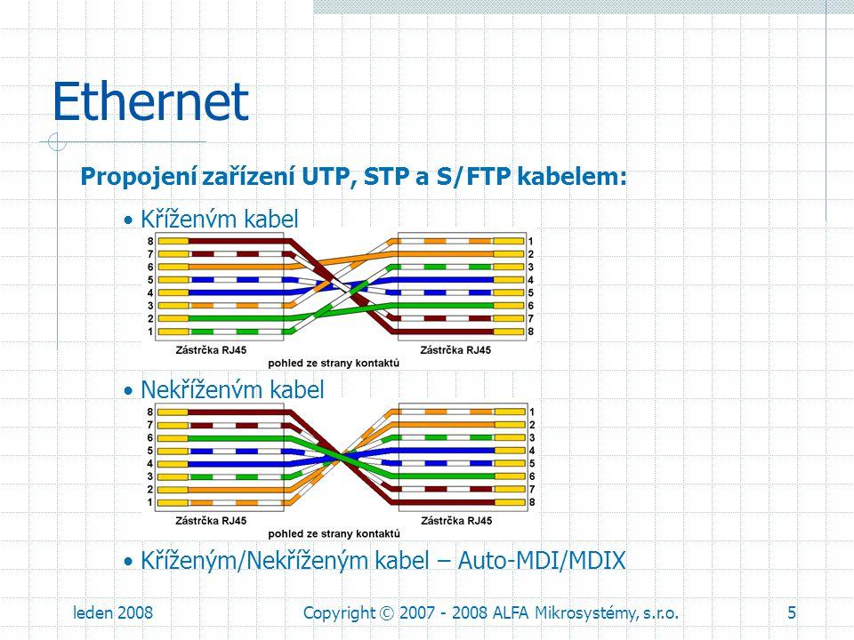 leden 2008Copyright © 2007 - 2008 ALFA Mikrosystémy, s.r.o.6 Ethernet Přístup k mediu: přístupová metoda prostřednictvím naslouchání nosné a detekcí kolizi (CSMA/CD) MAC protokol (MAC adresy světově unikátní a jsou na štítcích každého zařízení) medium MAC protokol MAC hlavička MAC dataCRC Zdrojová MAC adresaCílová MAC adresa