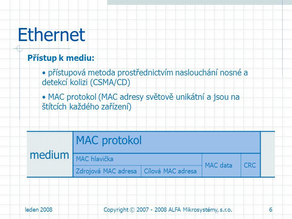 leden 2008Copyright © 2007 - 2008 ALFA Mikrosystémy, s.r.o.6 Ethernet Přístup k mediu: přístupová metoda prostřednictvím naslouchání nosné a detekcí k