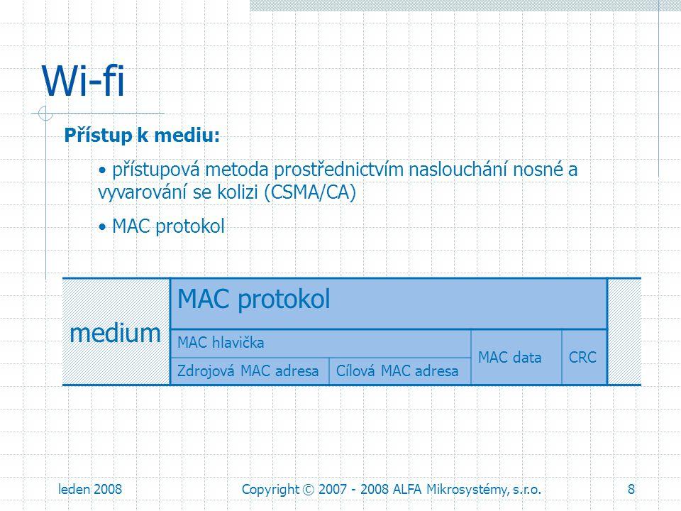 leden 2008Copyright © 2007 - 2008 ALFA Mikrosystémy, s.r.o.19 ARP protokol mediumMAC ARP protokol ARP hlavičkaARP data Protokol pro zjištění MAC adresy při znalosti IP adresy (na Ethernetu).