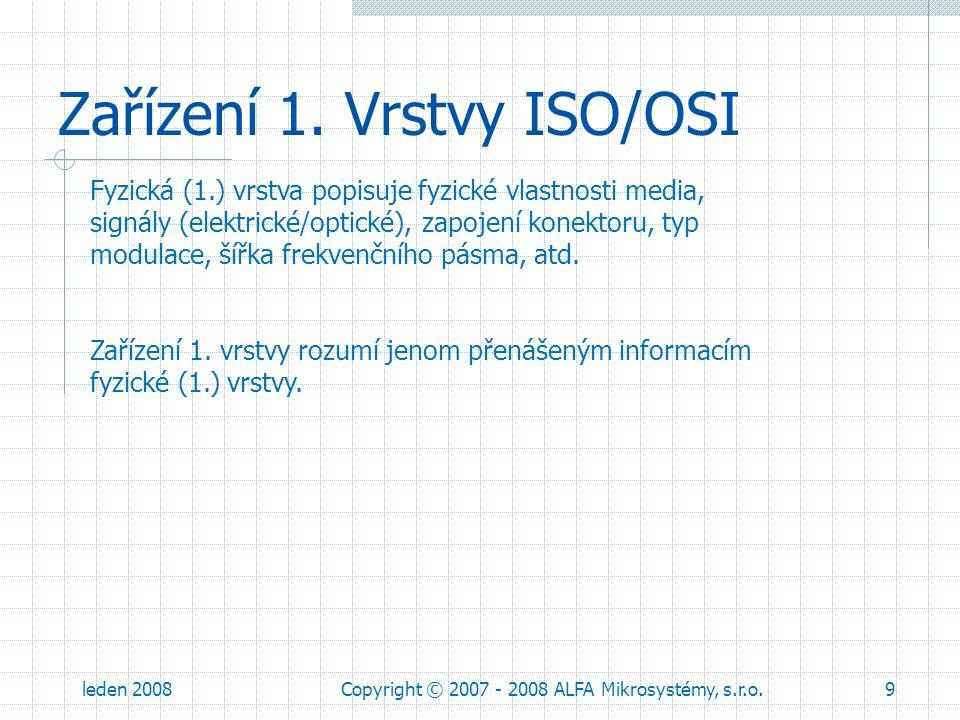 leden 2008Copyright © 2007 - 2008 ALFA Mikrosystémy, s.r.o.9 Zařízení 1. Vrstvy ISO/OSI Fyzická (1.) vrstva popisuje fyzické vlastnosti media, signály