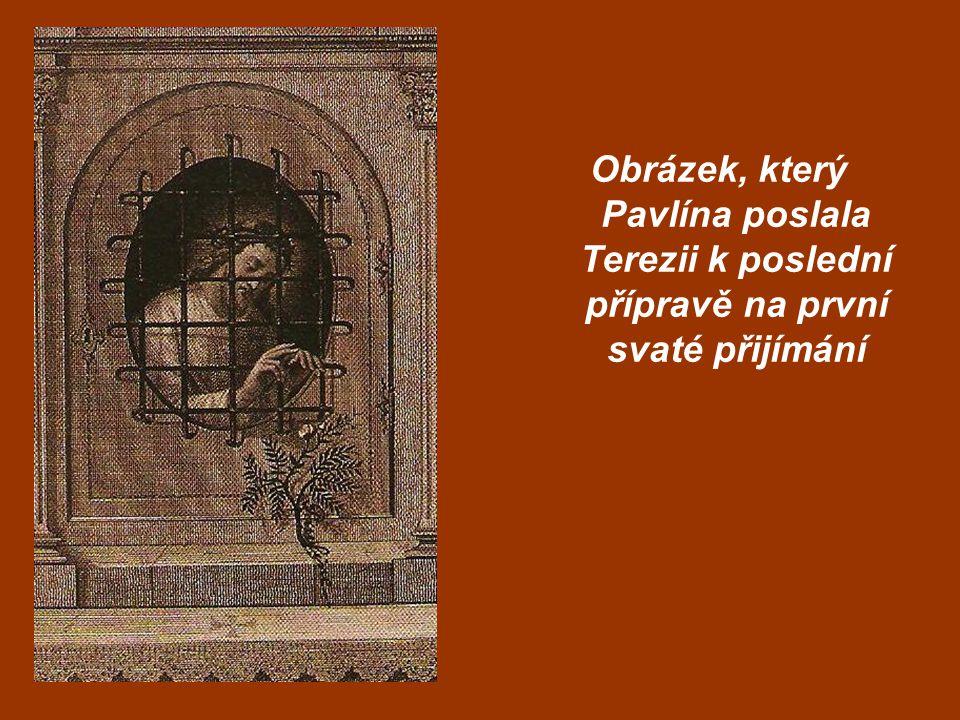 Obrázek, který Pavlína poslala Terezii k poslední přípravě na první svaté přijímání