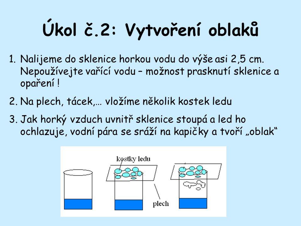 Úkol č.2: Vytvoření oblaků 1.Nalijeme do sklenice horkou vodu do výše asi 2,5 cm.