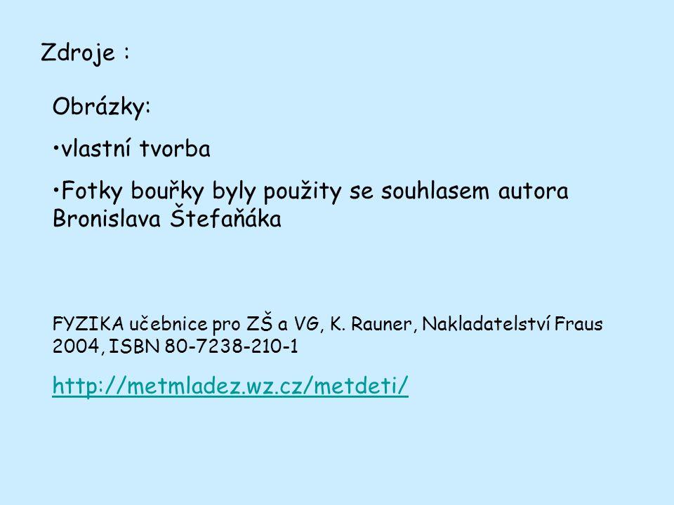 Zdroje : Obrázky: vlastní tvorba Fotky bouřky byly použity se souhlasem autora Bronislava Štefaňáka FYZIKA učebnice pro ZŠ a VG, K.