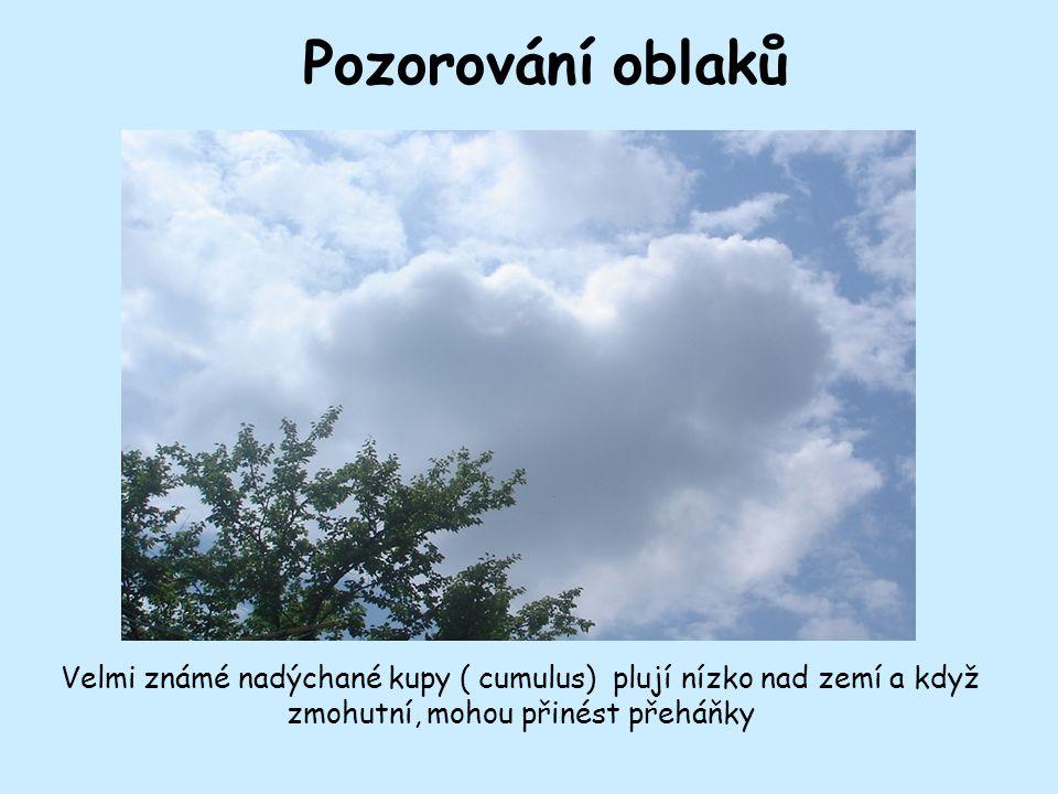 Pozorování oblaků Velmi známé nadýchané kupy ( cumulus) plují nízko nad zemí a když zmohutní, mohou přinést přeháňky
