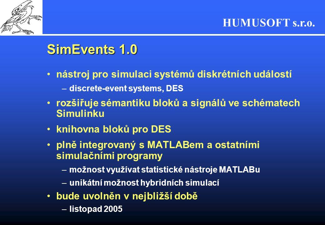 HUMUSOFT s.r.o. SimEvents 1.0 nástroj pro simulaci systémů diskrétních událostí –discrete-event systems, DES rozšiřuje sémantiku bloků a signálů ve sc