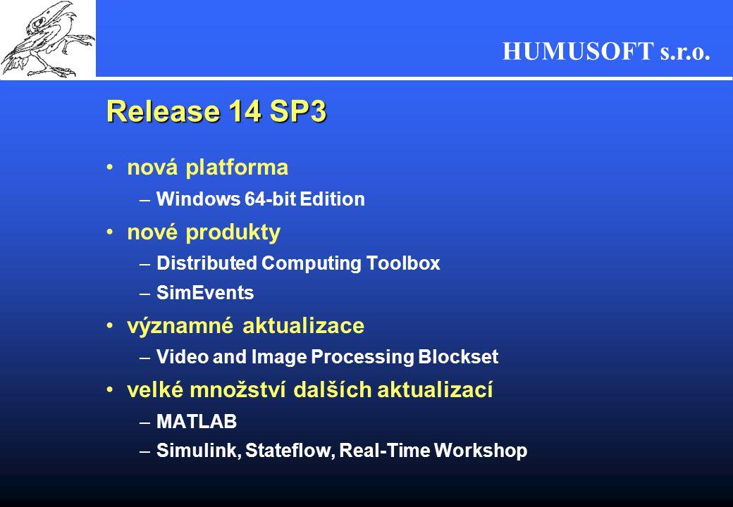 HUMUSOFT s.r.o. Release 14 SP3 nová platforma –Windows 64-bit Edition nové produkty –Distributed Computing Toolbox –SimEvents významné aktualizace –Vi