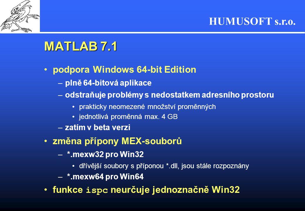 HUMUSOFT s.r.o. MATLAB 7.1 podpora Windows 64-bit Edition –plně 64-bitová aplikace –odstraňuje problémy s nedostatkem adresního prostoru prakticky neo