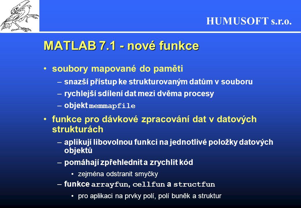 HUMUSOFT s.r.o. MATLAB 7.1 - nové funkce soubory mapované do paměti –snazší přístup ke strukturovaným datům v souboru –rychlejší sdílení dat mezi dvěm