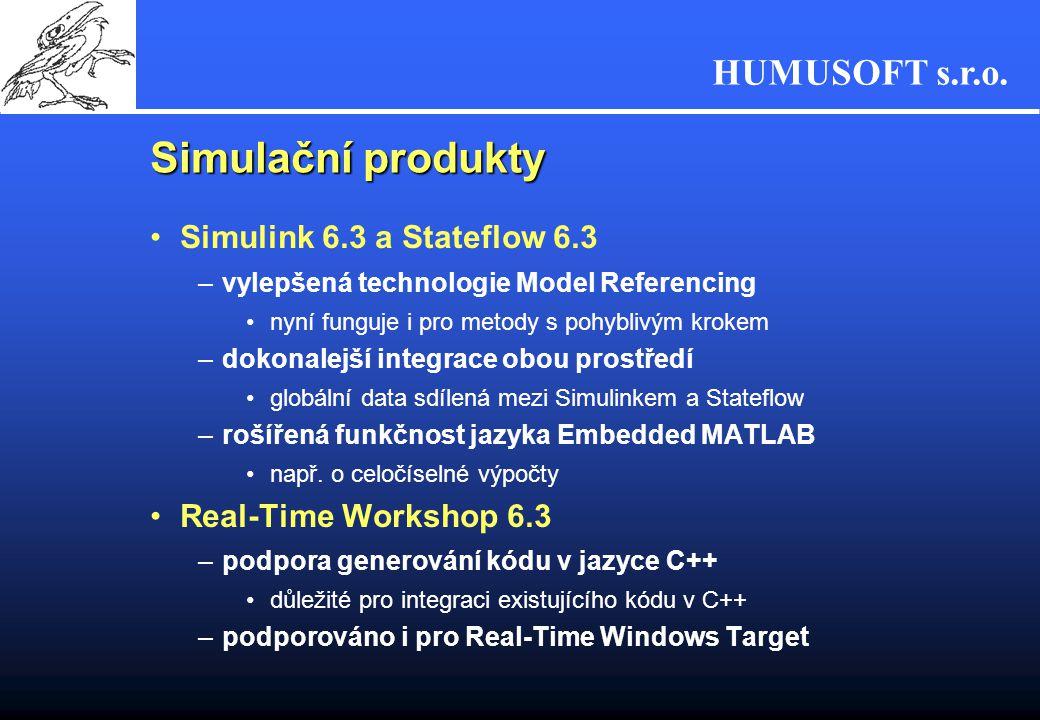 HUMUSOFT s.r.o. Simulační produkty Simulink 6.3 a Stateflow 6.3 –vylepšená technologie Model Referencing nyní funguje i pro metody s pohyblivým krokem