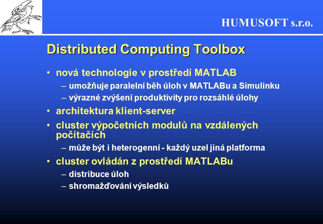 HUMUSOFT s.r.o. nová technologie v prostředí MATLAB –umožňuje paralelní běh úloh v MATLABu a Simulinku –výrazné zvýšení produktivity pro rozsáhlé úloh