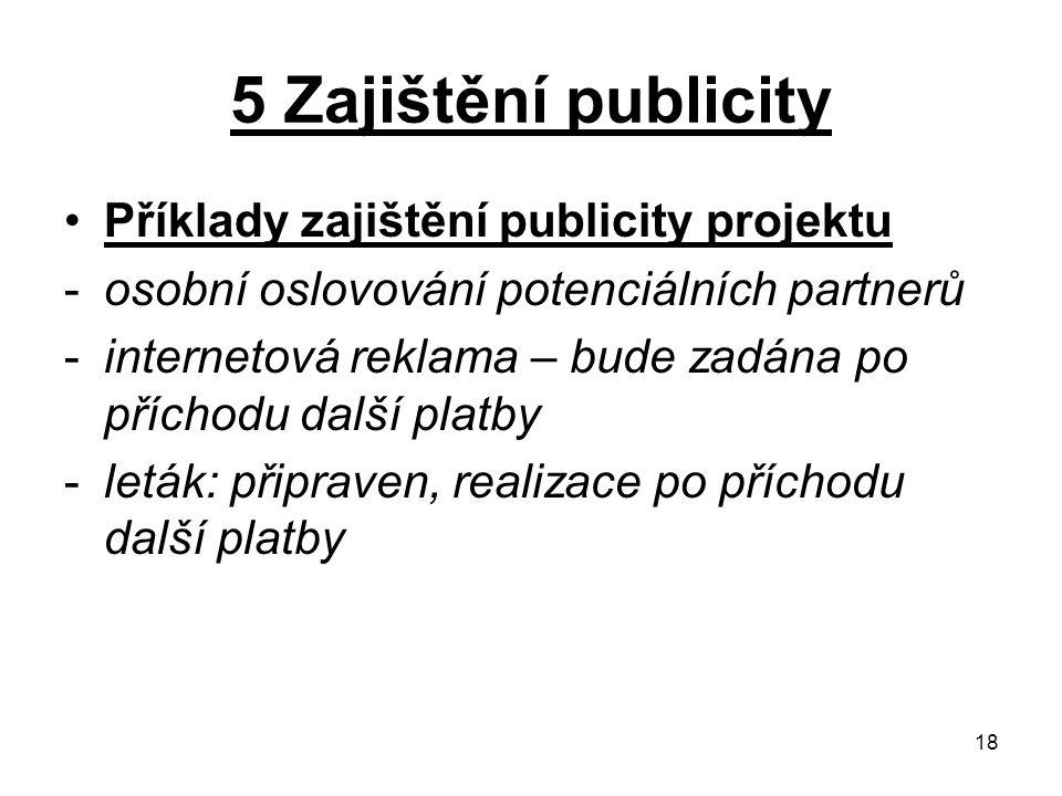 18 5 Zajištění publicity Příklady zajištění publicity projektu -osobní oslovování potenciálních partnerů -internetová reklama – bude zadána po příchod