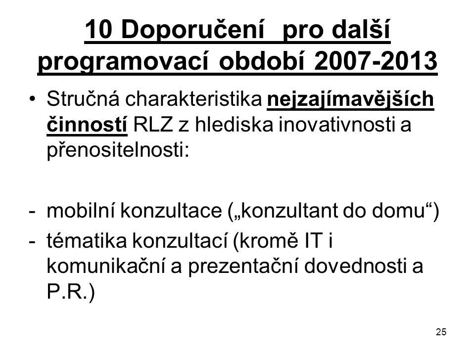 """25 10 Doporučení pro další programovací období 2007-2013 Stručná charakteristika nejzajímavějších činností RLZ z hlediska inovativnosti a přenositelnosti: -mobilní konzultace (""""konzultant do domu ) -tématika konzultací (kromě IT i komunikační a prezentační dovednosti a P.R.)"""