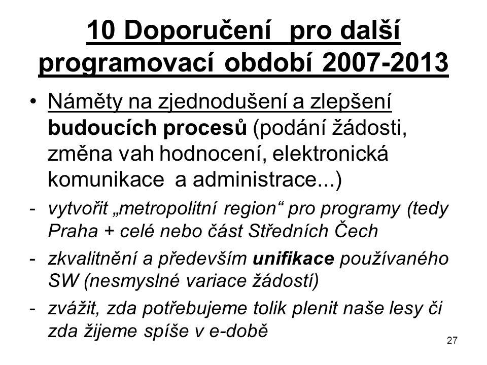 """27 10 Doporučení pro další programovací období 2007-2013 Náměty na zjednodušení a zlepšení budoucích procesů (podání žádosti, změna vah hodnocení, elektronická komunikace a administrace...) -vytvořit """"metropolitní region pro programy (tedy Praha + celé nebo část Středních Čech -zkvalitnění a především unifikace používaného SW (nesmyslné variace žádostí) -zvážit, zda potřebujeme tolik plenit naše lesy či zda žijeme spíše v e-době"""