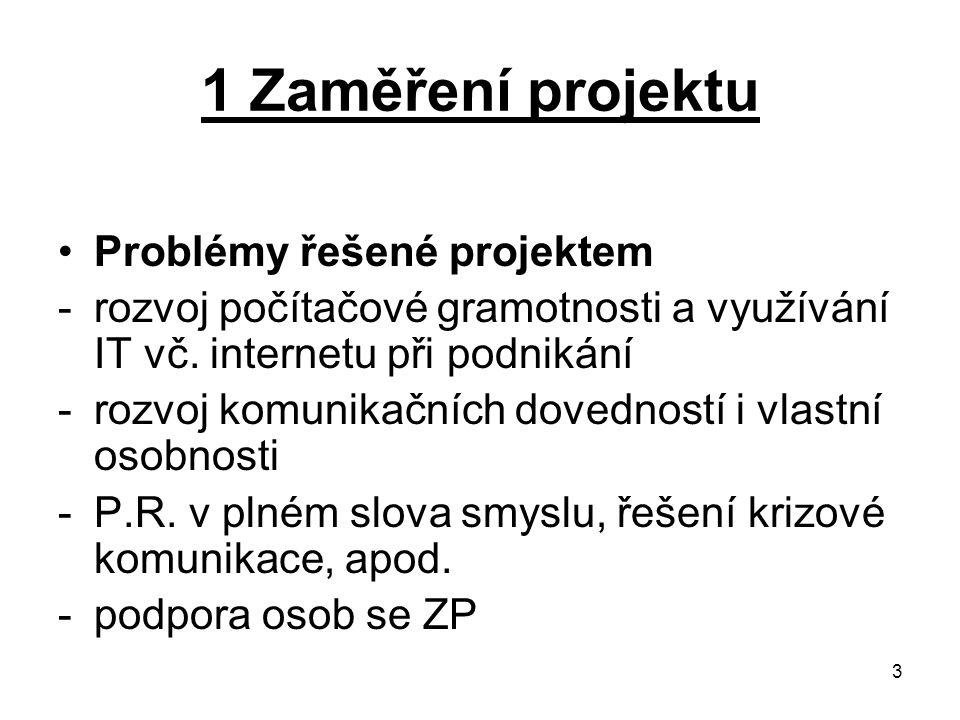 3 1 Zaměření projektu Problémy řešené projektem -rozvoj počítačové gramotnosti a využívání IT vč. internetu při podnikání -rozvoj komunikačních dovedn