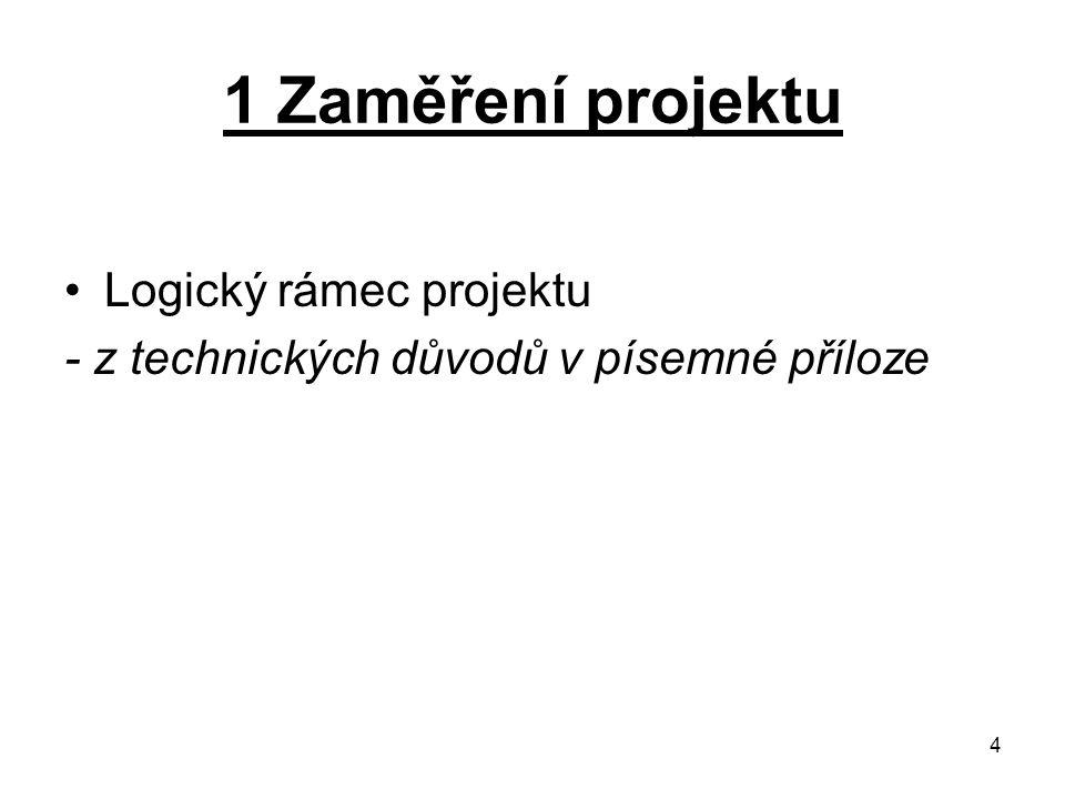 4 1 Zaměření projektu Logický rámec projektu - z technických důvodů v písemné příloze