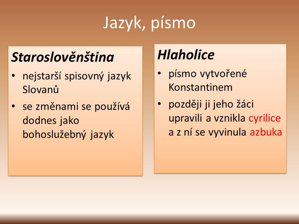 Jazyk, písmo Hlaholice písmo vytvořené Konstantinem později ji jeho žáci upravili a vznikla cyrilice a z ní se vyvinula azbuka Hlaholice písmo vytvoře