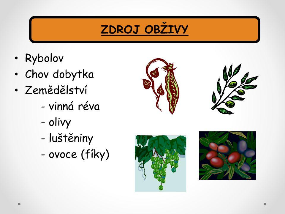 Rybolov Chov dobytka Zemědělství - vinná réva - olivy - luštěniny - ovoce (fíky) ZDROJ OBŽIVY