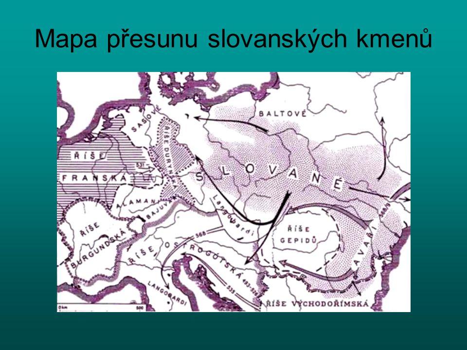 Mapa přesunu slovanských kmenů