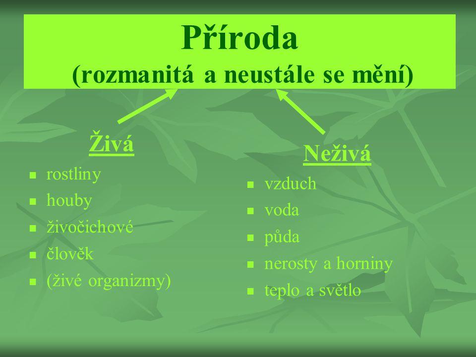 Příroda (rozmanitá a neustále se mění) Živá rostliny houby živočichové člověk (živé organizmy) Neživá vzduch voda půda nerosty a horniny teplo a světl