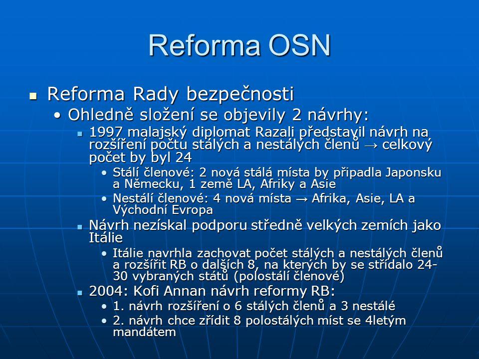 Reforma OSN Reforma Rady bezpečnosti Reforma Rady bezpečnosti Ohledně složení se objevily 2 návrhy:Ohledně složení se objevily 2 návrhy: 1997 malajský