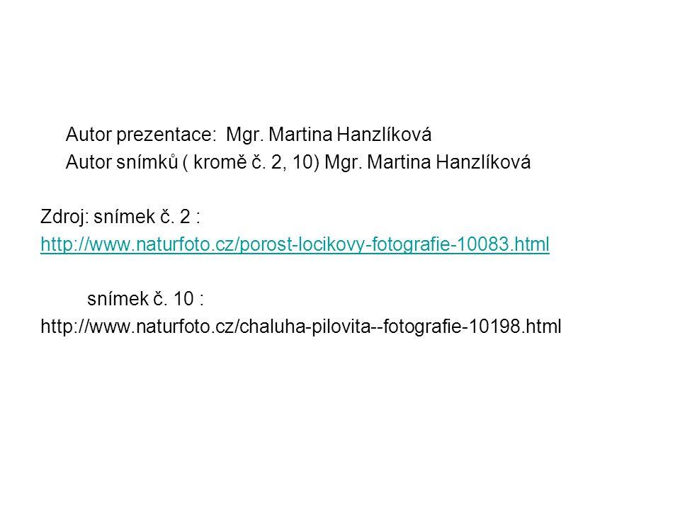 Autor prezentace: Mgr. Martina Hanzlíková Autor snímků ( kromě č. 2, 10) Mgr. Martina Hanzlíková Zdroj: snímek č. 2 : http://www.naturfoto.cz/porost-l