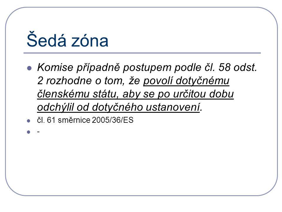 Šedá zóna Komise případně postupem podle čl. 58 odst.