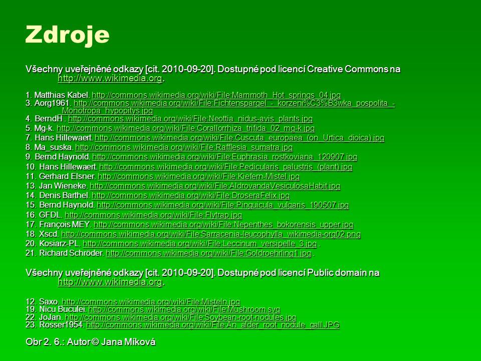 Všechny uveřejněné odkazy [cit. 2010-09-20]. Dostupné pod licencí Creative Commons na http://www.wikimedia.org. http://www.wikimedia.org 1. Matthias K