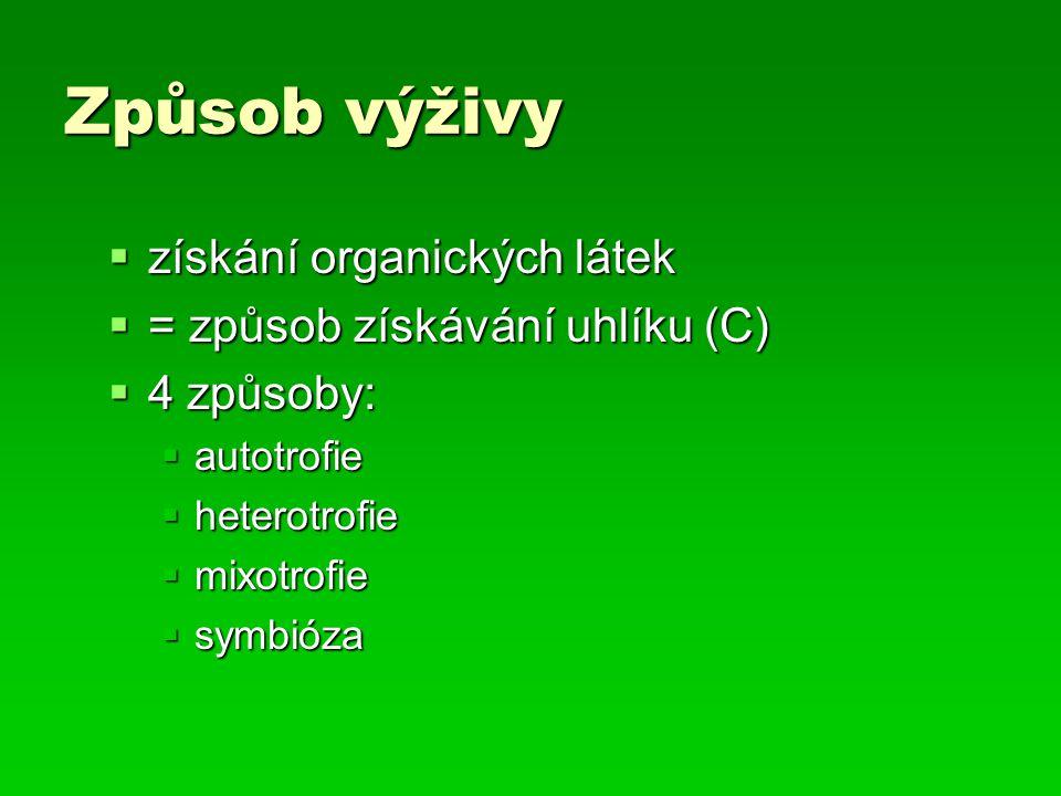 Způsob výživy  získání organických látek  = způsob získávání uhlíku (C)  4 způsoby:  autotrofie  heterotrofie  mixotrofie  symbióza