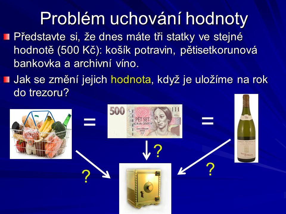 Problém uchování hodnoty Představte si, že dnes máte tři statky ve stejné hodnotě (500 Kč): košík potravin, pětisetkorunová bankovka a archivní víno.