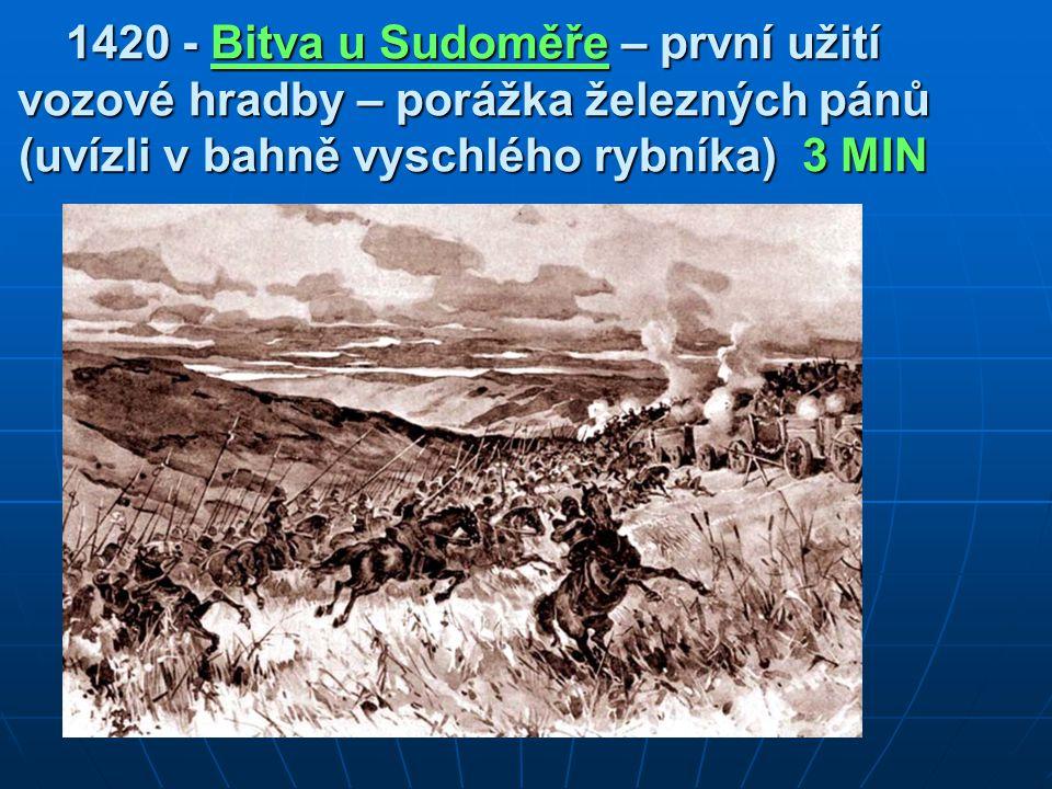 1420 - Bitva u Sudoměře – první užití vozové hradby – porážka železných pánů (uvízli v bahně vyschlého rybníka) 3 MIN