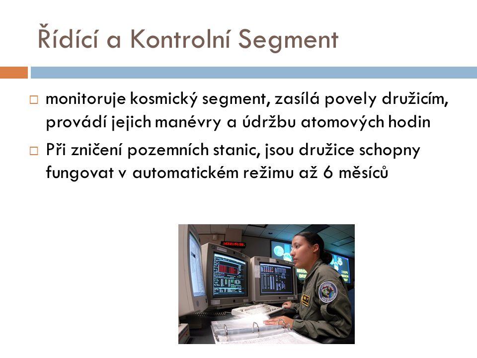 Řídící a Kontrolní Segment  monitoruje kosmický segment, zasílá povely družicím, provádí jejich manévry a údržbu atomových hodin  Při zničení pozemn